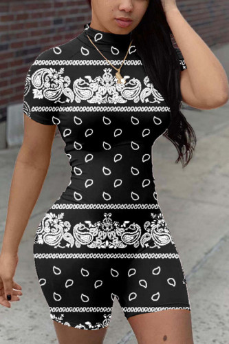 Black Fashion Casual Print Polyester Short Sleeve O Neck Jumpsuits