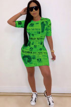 Green Polyester Sexy Cap Sleeve Short Sleeves O neck Step Skirt Mini Patchwork Print Club Dresses SD421236