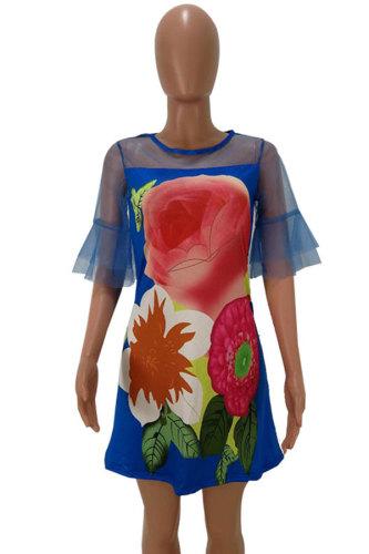 Navy Blue Sexy Fashion Cap Sleeve Half Sleeves O neck A-Line Knee-Length Print Patchwork Print Dresses HM93030