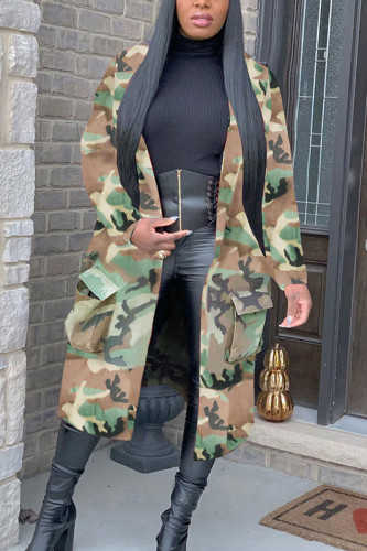 Army Green Street Cotton Camouflage Print Split Joint Turndown Collar Outerwear
