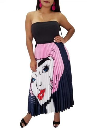 Pink Polyester Elastic Fly High Character Letter Print Pleated skirt Pants Skirts LS481189