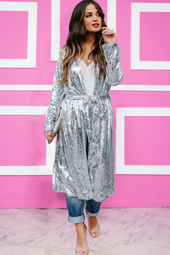Silver O Neck Sequin Solid Bandage Polyester Pure Long Sleeve cloak TR671262