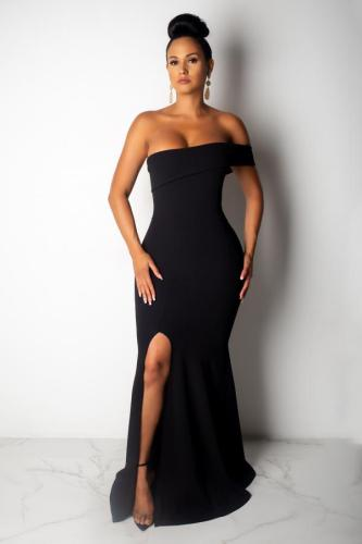Black Polyester Fashion Sexy Off The Shoulder Sleeveless Wrapped chest Mermaid Floor-Length split asymmetrical Solid Party and Cocktail Dresses LO441215