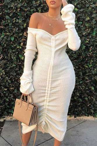 White Street Off The Shoulder Long Sleeves One word collar Step Skirt Mid-Calf Patchwork bandage Solid Draped Dresses