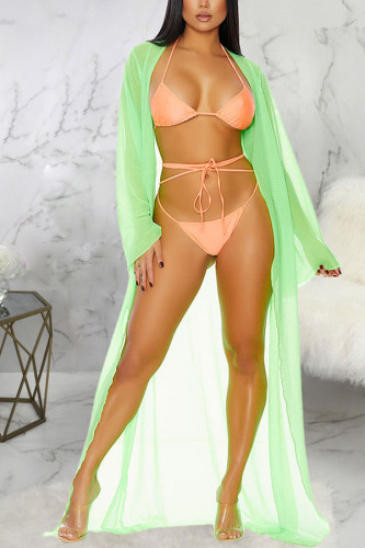 Light Green Polyester Patchwork perspective Mesh Hooded Out Asymmetrical Sexy Swimwears