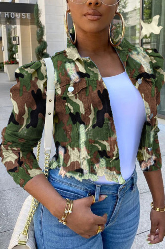 Camouflage Fashion Street Adult Denim Camouflage Print Ripped Split Joint Turndown Collar Plus Size