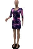 purple Fashion Casual Polyester Print O Neck Three Quarter Mini Pencil Skirt Dresses