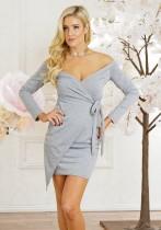Grey Sexy & Club Slash neck Long Sleeve Long Sleeve Rhitheron drafts.ithers. skirt Long Sleeve Dresses