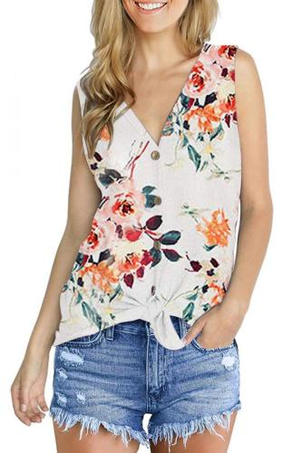 Navy Blue Polyester V Neck Sleeveless asymmetrical Print Button Floral Sweaters & Cardigans DL334619