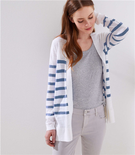Blue cardigan Long Sleeve Striped Sweaters & Cardigans MD62109
