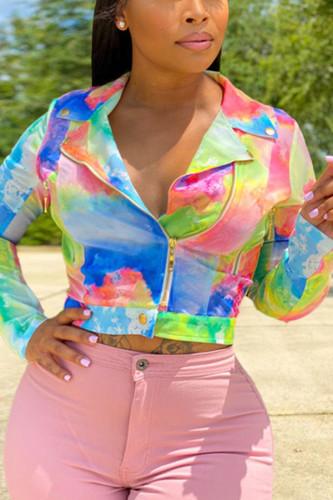 Multi-color Fashion Street Adult Polyester Print Turndown Collar Plus Size