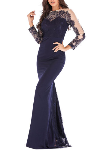 Blue Fashion Long Sleeves O neck Slim Dress Floor-Length Patchwork Party and Cocktail Dresses LR17857