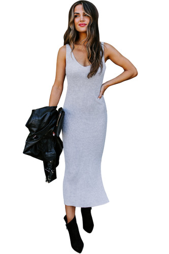 Grey Polyester adult Sexy Fashion Tank Sleeveless V Neck Pencil Dress Mid-Calf Patchwork Solid split Sweater Dresses MC301222