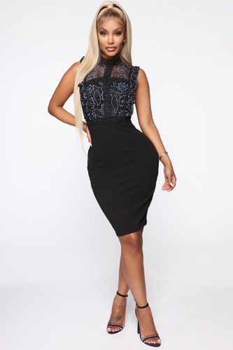 Black Polyester adult Sexy Fashion Tank Sleeveless Mandarin Collar Step Skirt Knee-Length hollow out Patchwork Solid lace Party and Cocktail Dresses LR171322