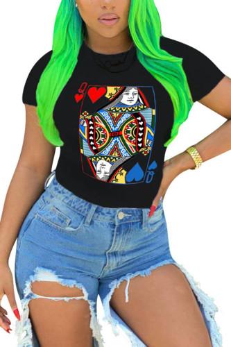 Black Nylon O Neck Short Sleeve Geometric Print TOPS