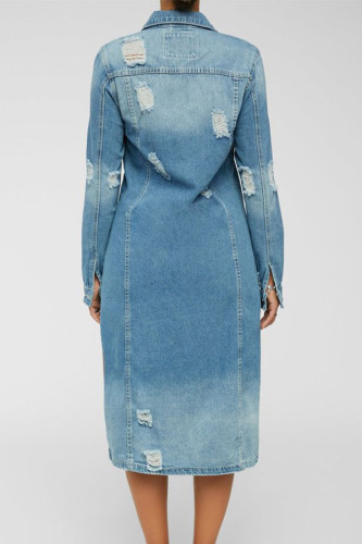 Blue Street Cotton Solid Ripped Turndown Collar Outerwear