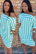 Light Blue Polyester Sexy Fashion Bat sleeve Short Sleeves One word collar Pencil Dress Knee-Length Pocket Prin