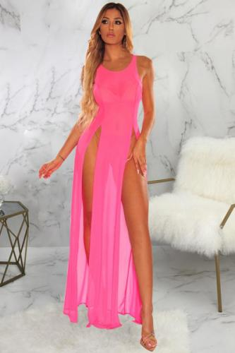 Pink Polyester Asymmetrical Patchwork perspective Solid Fashion Sexy Cover-Ups & Beach Dresses SMR391229