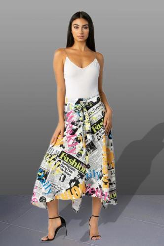 Multi-color Polyester Elastic Fly High Draped Asymmetrical Letter bandage Print Pleated skirt Capris Skirts JS91174