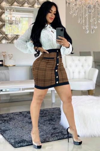 Khaki Polyester Button Fly Sleeveless High Print Patchwork Hip skirt shorts LR2610275