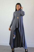 Grey Casual Long Sleeves O neck A-Line Ankle-Length asymmetrical LL54354