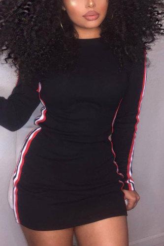 Black Fashion Sexy Cap Sleeve Long Sleeves O neck Slim Dress skirt Patchwork Striped Print Dresses