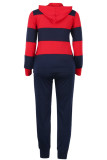 Blue Cotton Sexy Two Piece Suits Striped pencil Long Sleeve