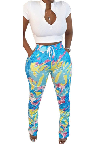 Blue Polyester Fashion Active adult Ma'am Geometric Two Piece Suits Straight Short Sleeve Two Pieces