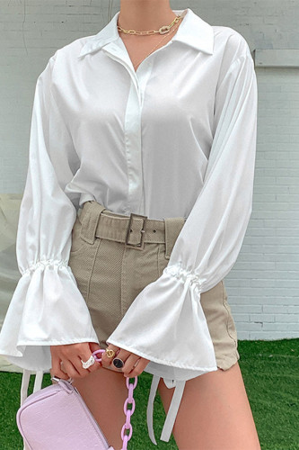 White Polyester O Neck Long Sleeve Patchwork Solid TOPS