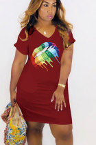 Wine Red Polyester Sexy Fashion Cap Sleeve Short Sleeves V Neck Knee-Length Patchwork Print Print Dresses MT741218