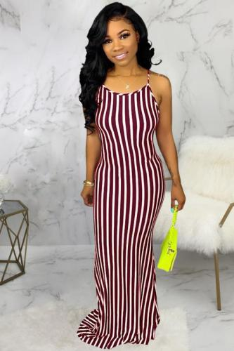 Wine Red Chlorine Fashion Sexy adult Black Blue Wine Red Spaghetti Strap Sleeveless O neck Asymmetrical Floor-Length Striped Print Patchwork bandage backless Dresses