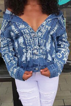 Blue Turndown Collar Letter Cotton Blazer & Suits &Jacket