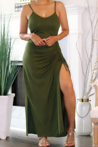 Green Polyester Fashion Sexy adult Ma'am Spaghetti Strap Sleeveless Slip Hip skirt Ankle-Length Solid Dresses