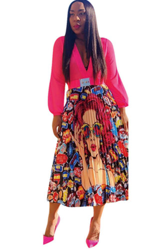 Multi-color Polyester Elastic Fly Mid Floral Draped Print Pleated skirt Pants Skirts