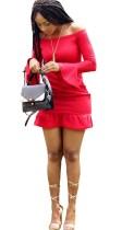 Red Brief Slash neck Long Sleeve Long Sleeve Step skirt skirt Summer Dresses