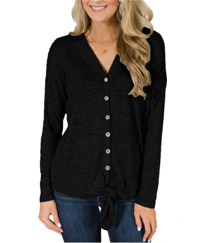 Black V Neck Long Sleeve Solid Sweaters & Cardigans