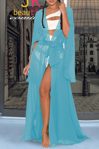 Blue Polyester perspective Patchwork bandage Solid Sexy adult Fashion Cover-Ups & Beach Dresses QM311465