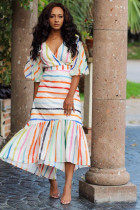 multicolor Polyester adult Sexy Casual Fashion Bubble sleeves Short Sleeves V Neck A-Line Mid-Calf Print Stripe