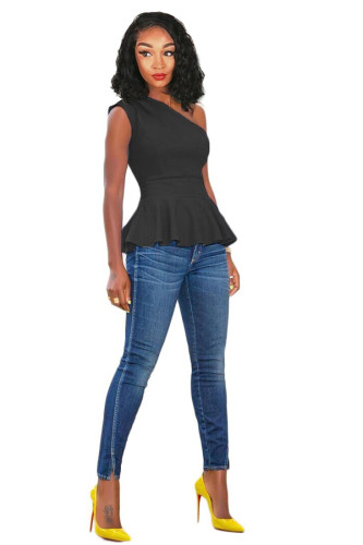 Black Polyester One Shoulder Collar Sleeveless asymmetrical Solid Draped Slim fit Vests & Waistcoats QY841191