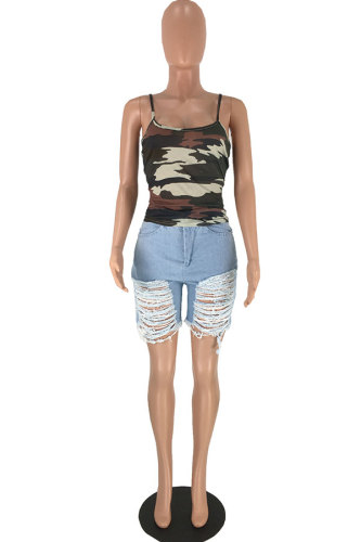 Camouflage Polyester Slip Sleeveless Print Patchwork Tank Tops & Camis FN231205