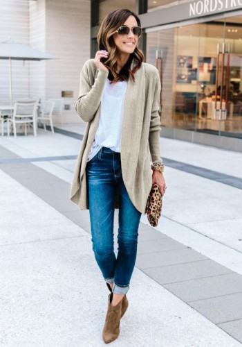 cream color Fashion Solid Turn-down Collar Regular Full Open Stitch Regular No Coats & Cardigan