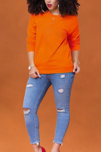 Dark Gray Polyester O Neck Long Sleeve Solid TOPS