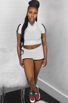 White Polyester Casual Fashion perspective Patchwork Mesh asymmetrical Straight Two-Piece Short Set
