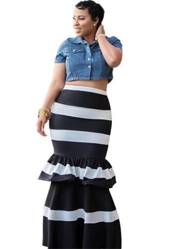 Black Trumpet / Mermaid Ruffles Ankle-Length Fashion Striped Skirts