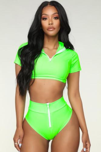 Fluorescent green Polyester Solid crop top Sexy Fashion Tankinis Set