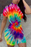 White Fashion Casual street Print Tie-dyed Polyester Short Sleeve O Neck Jumpsuits