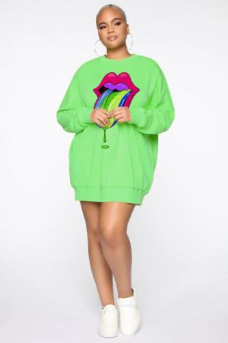 Green Polyester Sweet Fashion adult O Neck Lips Print tongue Print Plus Size Tops LG45005