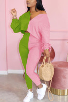 Pink venetian Fashion Casual adult Ma'am Patchwork contrast color Two Piece Suits pencil Long Sleeve Two Pieces