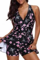 Multi-color Polyester backless Print Patchwork Sexy Fashion Casual Tankinis Set SJ381217