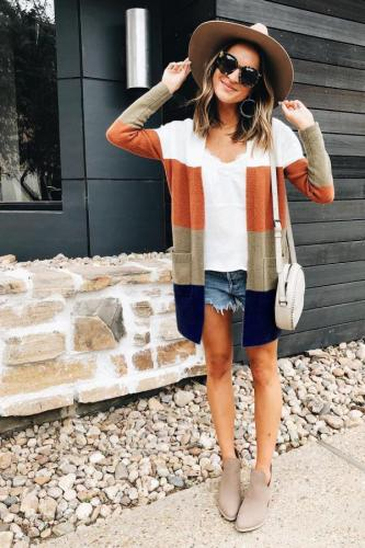 Orange and apricot colour knitting cardigan Long Sleeve Striped DZ1203